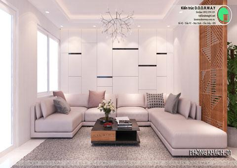 Thiết kế nội thất biệt thự cho thuê 600m2 tại FLC Sầm Sơn nhà anh Dương chị Liên, by kiến trúc Doorway, thiết kế phòng khách góc 01
