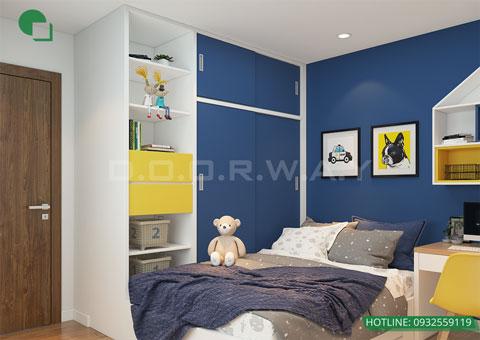 Thiết kế nội thất chung cư The Legend căn hộ 2 phòng ngủ nhà anh Hiệu chị Thủy 50m2, by kiến trúc Doorway, thiết kế phòng ngủ cho bé góc 03