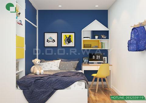 Thiết kế nội thất chung cư The Legend căn hộ 2 phòng ngủ nhà anh Hiệu chị Thủy 50m2, by kiến trúc Doorway, thiết kế phòng ngủ cho bé góc 02
