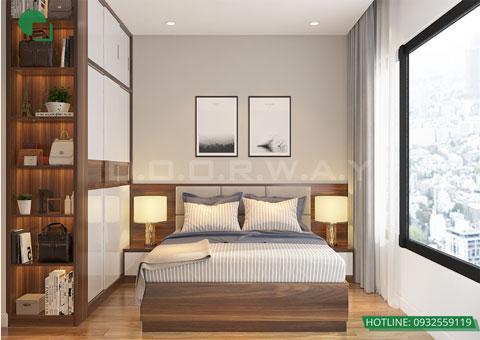 Thiết kế nội thất chung cư The Legend căn hộ 2 phòng ngủ nhà anh Hiệu chị Thủy 50m2, by kiến trúc Doorway, thiết kế phòng ngủ master góc 01