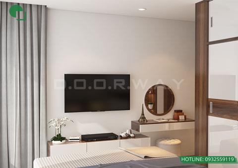 Thiết kế nội thất chung cư The Legend căn hộ 2 phòng ngủ nhà anh Hiệu chị Thủy 50m2, by kiến trúc Doorway, thiết kế phòng ngủ master góc 03