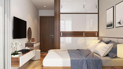 Thiết kế nội thất chung cư The Legend căn hộ 2 phòng ngủ nhà anh Hiệu chị Thủy 50m2, by kiến trúc Doorway, thiết kế phòng ngủ master ảnh tiêu biểu