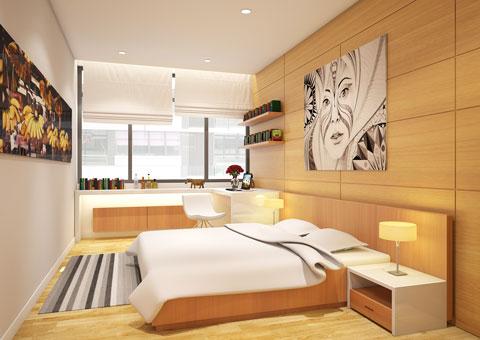 Thiết kế nhà chung cư 2 phòng ngủ tại chung cư Dolphin Plaza nhà anh Tĩnh, by kiến trúc Doorway, phòng đa năng góc 01