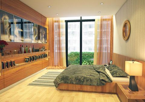 Thiết kế nhà chung cư 2 phòng ngủ tại chung cư Dolphin Plaza nhà anh Tĩnh, by kiến trúc Doorway, phòng ngủ master