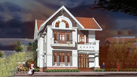Mẫu nhà biệt thự 2 tầng mái thái 9,6x12,3m tại Nam Định - Mr Tuấn by kiến trúc Doorway ảnh tiêu biểu