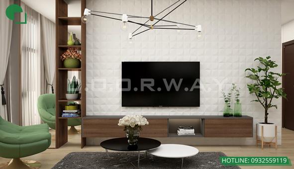 Các mẫu kệ tivi đẹp bằng gỗ cho phòng khách by kiến trúc Doorway 12
