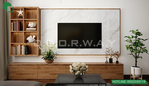 Các mẫu kệ tivi đẹp bằng gỗ cho phòng khách by kiến trúc Doorway 13