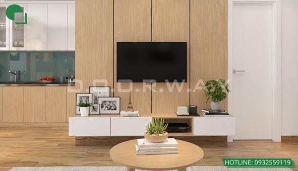 Các mẫu kệ tivi đẹp bằng gỗ cho phòng khách by kiến trúc Doorway 14