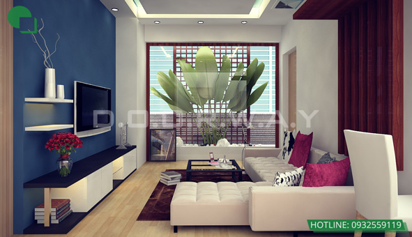 Các mẫu kệ tivi đẹp bằng gỗ cho phòng khách by kiến trúc Doorway 02