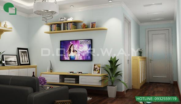 Các mẫu kệ tivi đẹp bằng gỗ cho phòng khách by kiến trúc Doorway 05