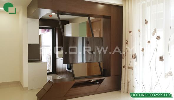 Các mẫu kệ tivi đẹp bằng gỗ cho phòng khách by kiến trúc Doorway 09