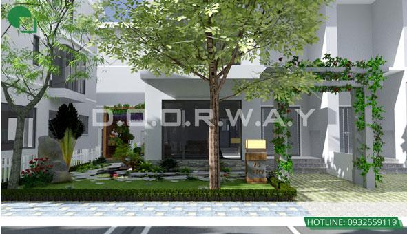 Khám phá thiết kế tiểu cảnh sân vườn xanh mát tại biệt thự Ecopark by kiến trúc Doorway 01 góc 1