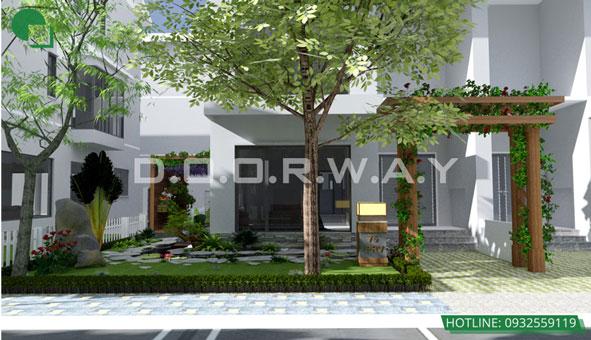 Khám phá thiết kế tiểu cảnh sân vườn xanh mát tại biệt thự Ecopark by kiến trúc Doorway 01 góc 2