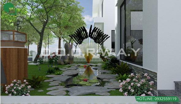Khám phá thiết kế tiểu cảnh sân vườn xanh mát tại biệt thự Ecopark by kiến trúc Doorway 02