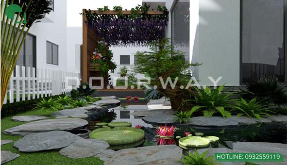 Khám phá thiết kế tiểu cảnh sân vườn xanh mát tại biệt thự Ecopark by kiến trúc Doorway 04