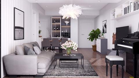 Thiết kế căn hộ chung cư Discovery 2 phòng ngủ phong cách Scandinavian by kiến trúc Doorway ảnh tiêu biểu