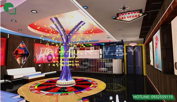 Thiết kế nội thất quán karaoke 120m2 Las Vegas Hà Nội by kiến trúc Doorway 04 góc 1