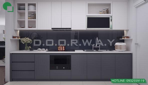 Thiết kế căn hộ chung cư Discovery 2 phòng ngủ phong cách Scandinavian by kiến trúc Doorway phòng bếp 01