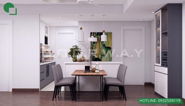 Thiết kế căn hộ chung cư Discovery 2 phòng ngủ phong cách Scandinavian by kiến trúc Doorway phòng bếp 02