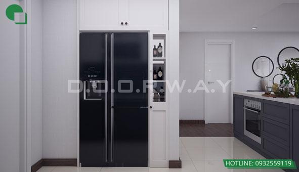 Thiết kế căn hộ chung cư Discovery 2 phòng ngủ phong cách Scandinavian by kiến trúc Doorway phòng bếp 03