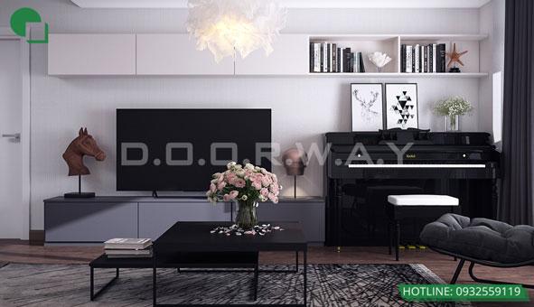 Thiết kế căn hộ chung cư Discovery 2 phòng ngủ phong cách Scandinavian by kiến trúc Doorway phòng khách 02