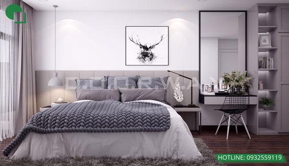 Thiết kế căn hộ chung cư Discovery 2 phòng ngủ phong cách Scandinavian by kiến trúc Doorway phòng ngủ 02