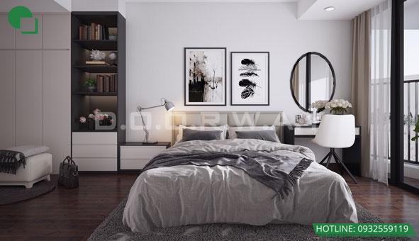 Thiết kế căn hộ chung cư Discovery 2 phòng ngủ phong cách Scandinavian by kiến trúc Doorway phòng ngủ master 01