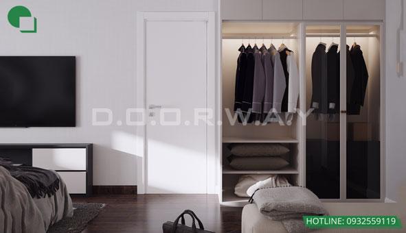 Thiết kế căn hộ chung cư Discovery 2 phòng ngủ phong cách Scandinavian by kiến trúc Doorway phòng ngủ master 05