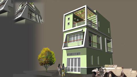 Thiết kế nhà 3 tầng mái bằng 60m2 có sân thượng đẹp by kiến trúc Doorway ảnh tiêu biểu