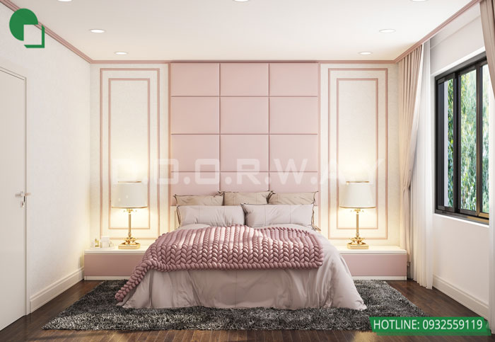 Ảnh dự án có sử dụng giấy dán tường phòng ngủ màu hồng 1
