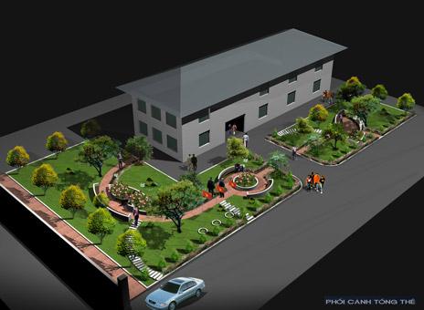 Thiết kế cảnh quan đẹp cho sân thư viện 1ha tại Hải Phòng by kiến trúc Doorway 01