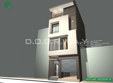 Bản vẽ thiết kế nhà 3 tầng 5x10m có gác lửng, có gara by kiến trúc Doorway 01