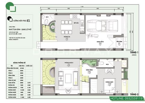 Bản vẽ thiết kế nhà 3 tầng 5x10m có gác lửng, có gara by kiến trúc Doorway 02