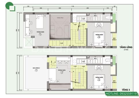 Bản vẽ thiết kế nhà 3 tầng 5x10m có gác lửng, có gara by kiến trúc Doorway 03