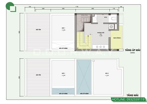 Bản vẽ thiết kế nhà 3 tầng 5x10m có gác lửng, có gara by kiến trúc Doorway 04