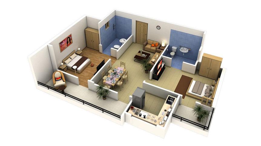 Top 10 mẫu thiết kế căn hộ chung cư 50m2 2 phòng ngủ đẹp nhất 2019 by kiến trúc Doorway, ảnh tiêu biểu