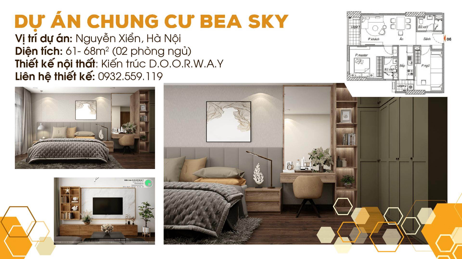 Thiết kế nội thất chung cư Bea Sky Nguyễn Xiển - căn hộ 2 phòng ngủ by kiến trúc Doorway, ảnh tiêu biểu