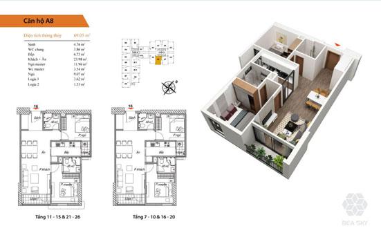 Thiết kế nội thất chung cư Bea Sky Nguyễn Xiển - căn hộ 2 phòng ngủ by kiến trúc Doorway st, mặt bằng căn hộ A8