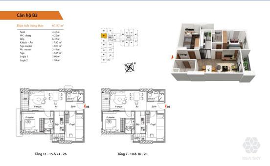 Thiết kế nội thất chung cư Bea Sky Nguyễn Xiển - căn hộ 2 phòng ngủ by kiến trúc Doorway st, mặt bằng căn hộ B3