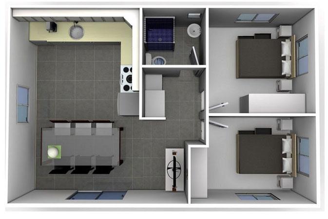 Top 10 mẫu thiết kế căn hộ chung cư 50m2 2 phòng ngủ đẹp nhất 2019 by kiến trúc Doorway, mẫu căn hộ chung cư 1