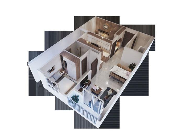 Top 10 mẫu thiết kế căn hộ chung cư 50m2 2 phòng ngủ đẹp nhất 2019 by kiến trúc Doorway, mẫu căn hộ chung cư 3