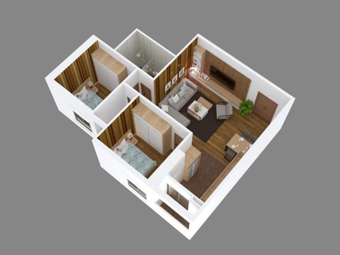 Top 10 mẫu thiết kế căn hộ chung cư 50m2 2 phòng ngủ đẹp nhất 2019 by kiến trúc Doorway, mẫu căn hộ chung cư 5