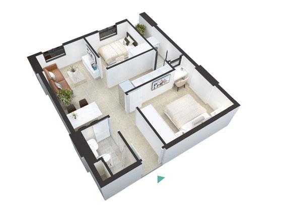 Top 10 mẫu thiết kế căn hộ chung cư 50m2 2 phòng ngủ đẹp nhất 2019 by kiến trúc Doorway, mẫu căn hộ chung cư 6