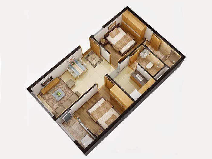 Top 10 mẫu thiết kế căn hộ chung cư 50m2 2 phòng ngủ đẹp nhất 2019 by kiến trúc Doorway, mẫu căn hộ chung cư 7