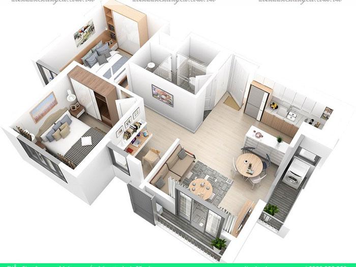 Top 10 mẫu thiết kế căn hộ chung cư 50m2 2 phòng ngủ đẹp nhất 2019 by kiến trúc Doorway, mẫu căn hộ chung cư 8