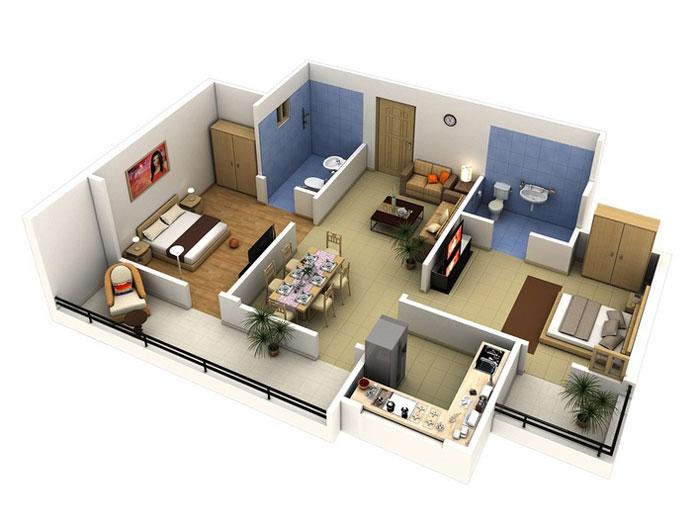Top 10 mẫu thiết kế căn hộ chung cư 50m2 2 phòng ngủ đẹp nhất 2019 by kiến trúc Doorway, mẫu căn hộ chung cư 9