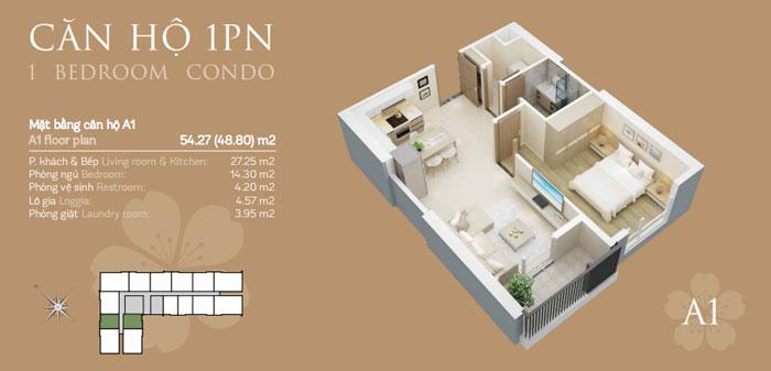 Mặt bằng căn A1 1 phòng ngủ, Mê mẩn trước vẻ đẹp của thiết kế nội thất căn hộ chung cư Mỹ Đình Pearl by kiến trúc Doorway