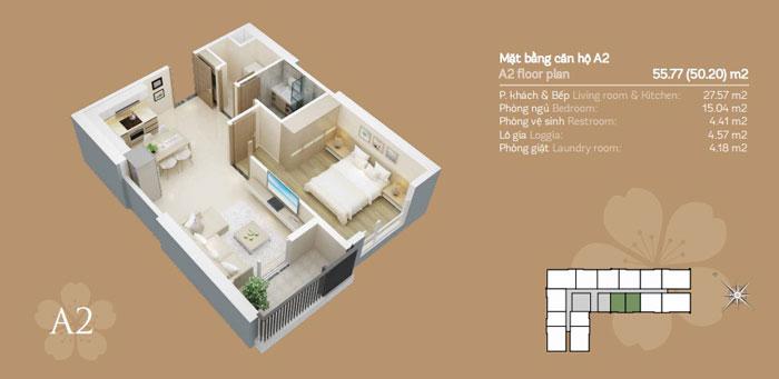 Mặt bằng căn A2 1 phòng ngủ, Mê mẩn trước vẻ đẹp của thiết kế nội thất căn hộ chung cư Mỹ Đình Pearl by kiến trúc Doorway