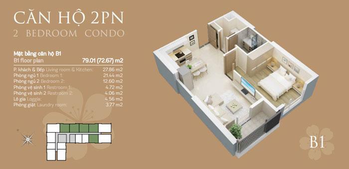Mặt bằng B1 2 phòng ngủ, Mê mẩn trước vẻ đẹp của thiết kế nội thất căn hộ chung cư Mỹ Đình Pearl by kiến trúc Doorway