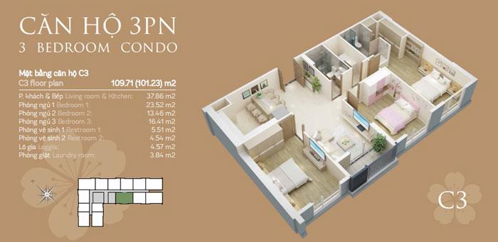 Mặt bằng căn C3-3PN- thiết kế căn hộ chung cư Mỹ Đình Pearl cho gia đình đa thế hệ | 3 - 4 phòng ngủ by kiến trúc Doorway